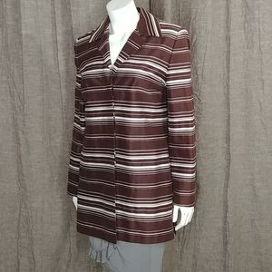 Talbots Brown White Stripe Blazer Brown Size 8